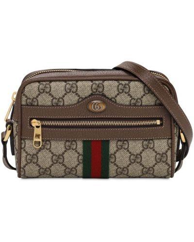 Замшевая коричневая сумка в полоску Gucci