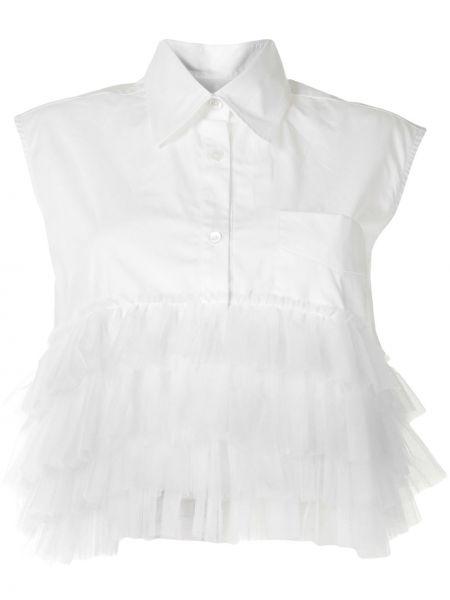 Белая классическая рубашка без рукавов с оборками с воротником Viktor & Rolf