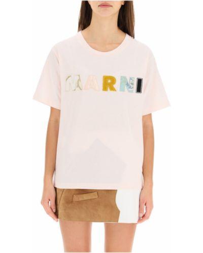 Z rękawami t-shirt z haftem niejednolita całość Marni