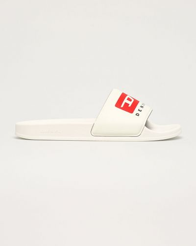 Białe sandały na obcasie Diesel