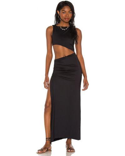 Черное нейлоновое платье с разрезом с оборками Agua Bendita