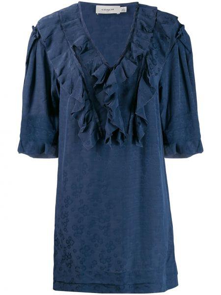 Платье с цветочным принтом с V-образным вырезом Coach