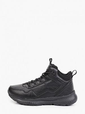 Кожаные высокие кроссовки - черные Strobbs