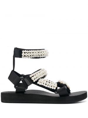 Czarne sandały płaska podeszwa perły Arizona Love
