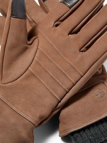 Коричневые вязаные кожаные перчатки Timberland