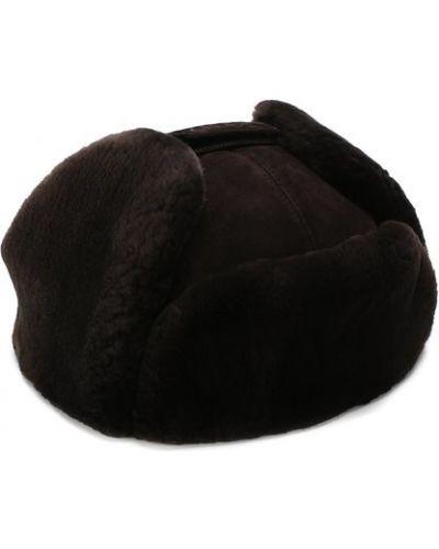 Шапка-ушанка с мехом замшевый Zilli