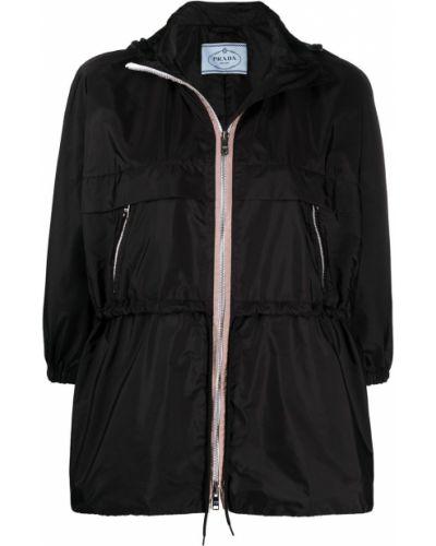 Z rękawami czarny długa kurtka z kieszeniami Prada