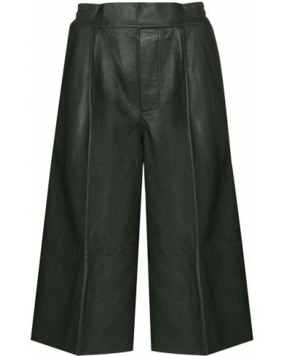 Zielony skórzany spodnie culotte Remain