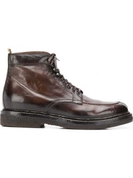 Brązowy skórzany buty na sznurowadłach Officine Creative