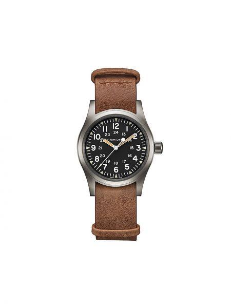 Zegarek na skórzanym pasku skórzany - czarny Hamilton Watch