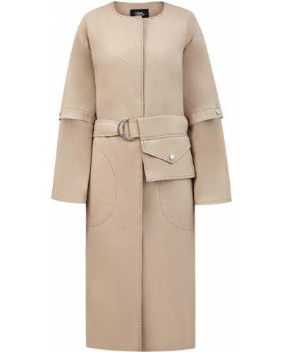 Текстильное приталенное бежевое пальто классическое с вырезом Karl Lagerfeld