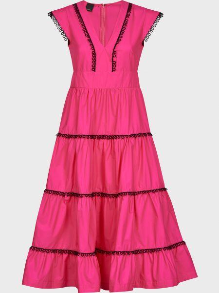 Хлопковое розовое платье на молнии Pinko