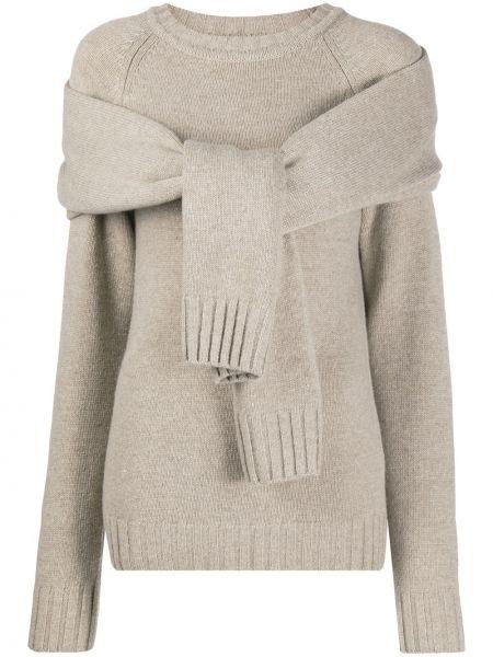 Шерстяной вязаный свитер в рубчик с круглым вырезом Eudon Choi