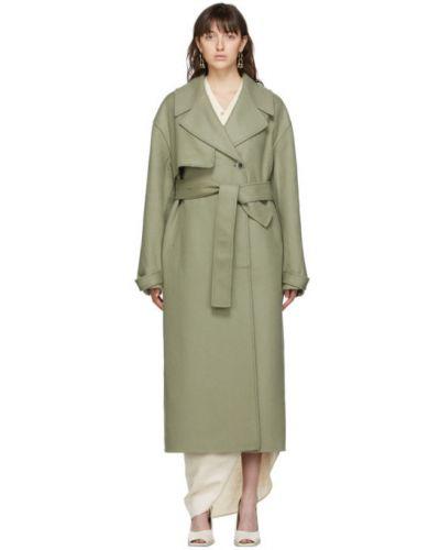 Zielony długi płaszcz wełniany z paskiem Jacquemus
