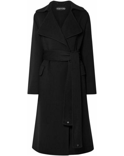 Кожаное черное пальто с поясом Tom Ford