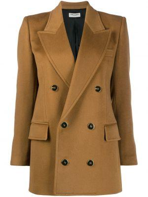 Коричневый удлиненный пиджак двубортный с карманами Saint Laurent