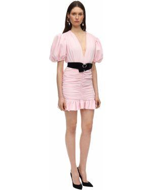 Różowa sukienka mini z falbanami z paskiem Marianna Senchina