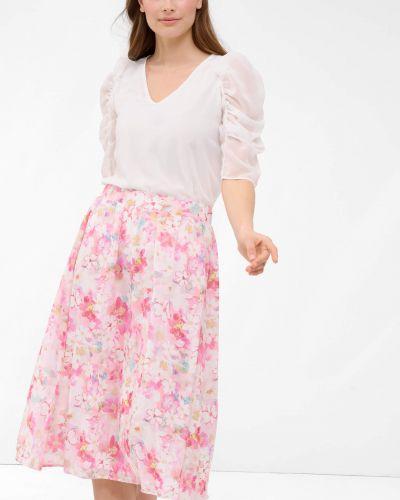 Czerwona spódnica midi w kwiaty materiałowa Orsay