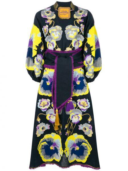 Синее льняное платье с вышивкой на молнии Yuliya Magdych