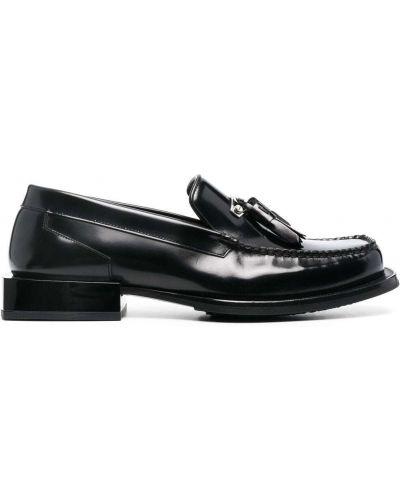 Czarne loafers skorzane na obcasie Eytys
