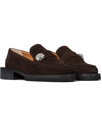 Brązowe loafers skorzane Ganni