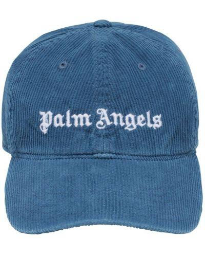 Bawełna niebieski bawełna czapka z daszkiem z haftem Palm Angels