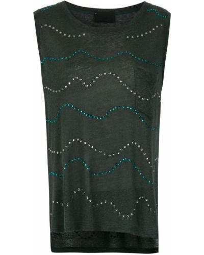 Блузка без рукавов батник зеленый Andrea Bogosian