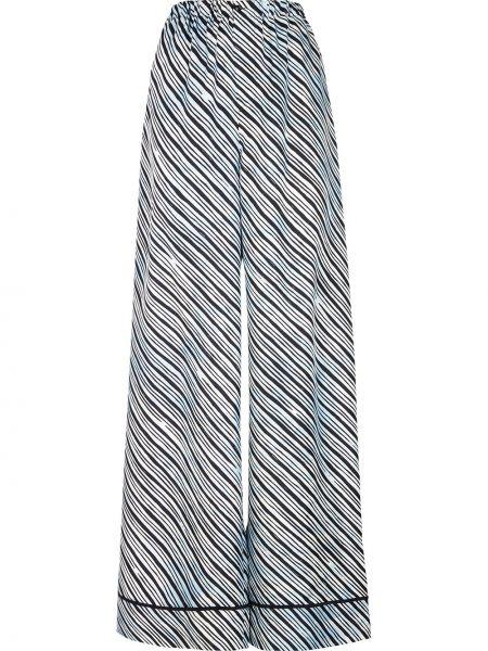 Синие шелковые расклешенные брюки с поясом Fendi