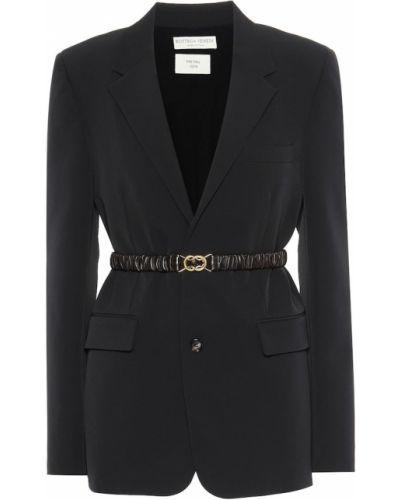 Черный пиджак из габардина Bottega Veneta