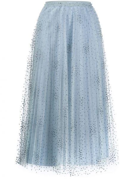 Ażurowa szara spódnica maxi z wysokim stanem Red Valentino