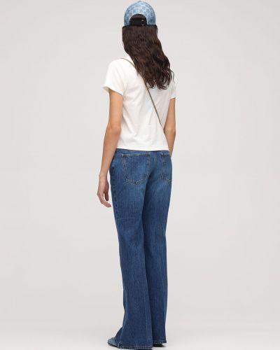 Bawełna bawełna niebieski szeroki jeansy z kieszeniami Gucci