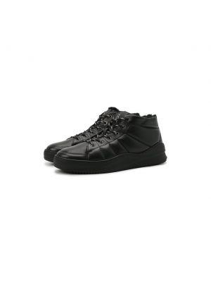 Черные кожаные кеды Bogner