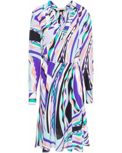 Плиссированное бирюзовое шелковое платье Emilio Pucci