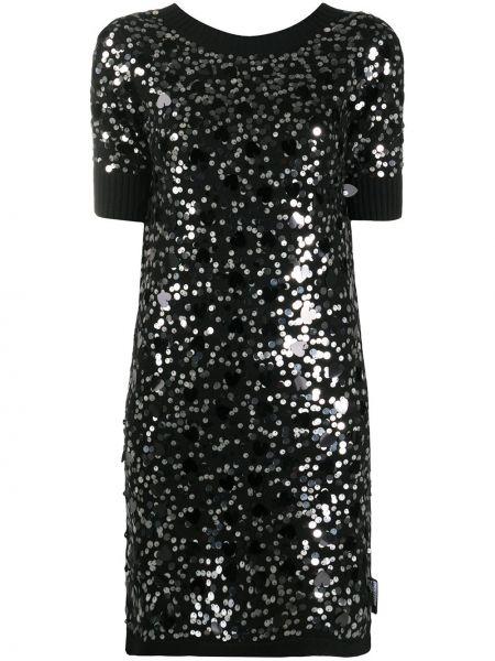 Шерстяное черное платье мини с пайетками Love Moschino