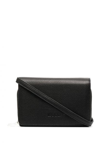 Черная кожаная сумка на плечо квадратная Msgm