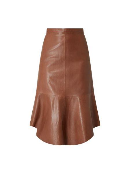 Brązowa spódnica midi skórzana rozkloszowana Riani