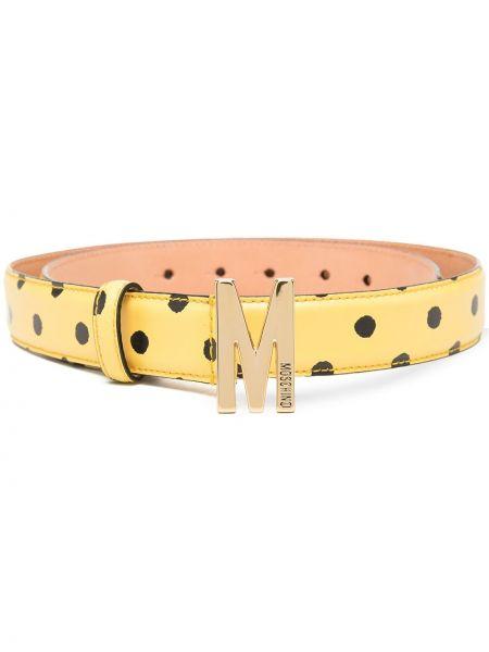 Желтый кожаный ремень в горошек Moschino
