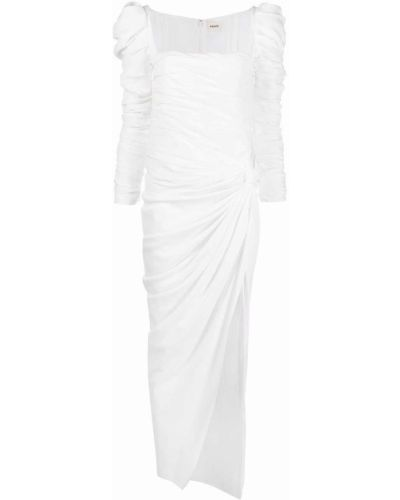 Шелковое белое платье с подкладкой Khaite