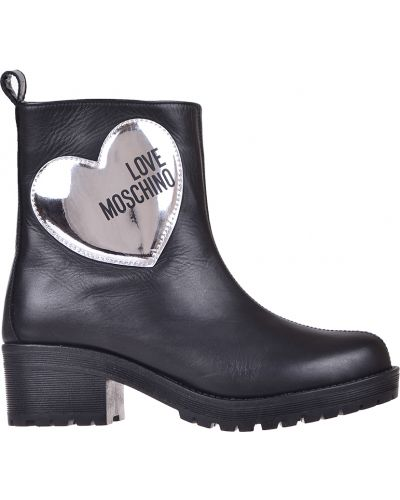Черные полусапожки на платформе Love Moschino