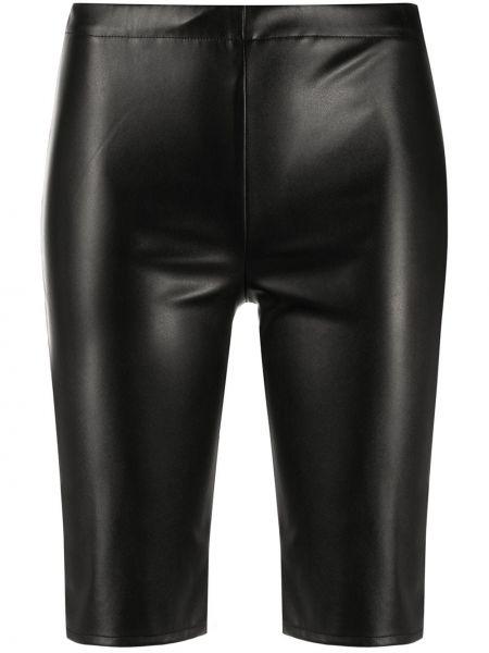 Кожаные черные шорты эластичные David Koma
