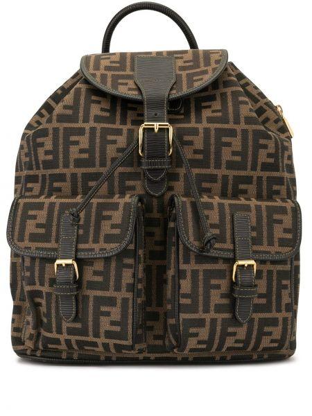 Skórzany plecak z płótna brązowy Fendi Pre-owned