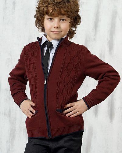 Школьный вязаный пиджак с воротником-стойка Vay