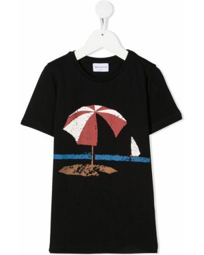 Czarny t-shirt bawełniany krótki rękaw Wolf & Rita