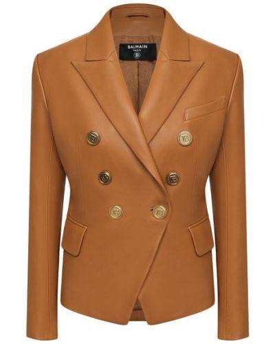 Кожаный пиджак - коричневый Balmain