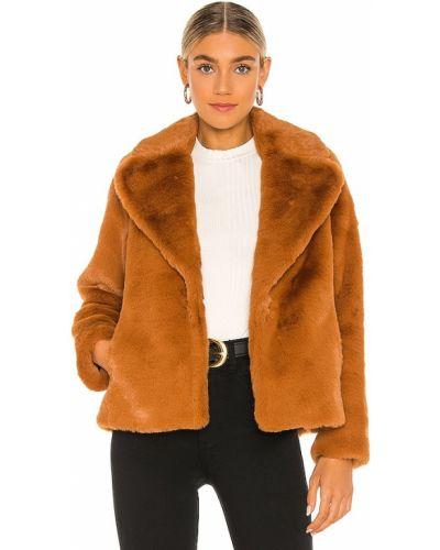Коричневое пальто из искусственного меха свободного кроя Soia & Kyo