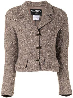 Коричневая длинная куртка для полных с карманами Chanel Pre-owned
