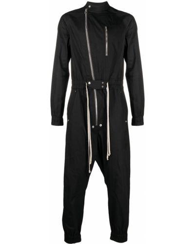 Bawełna czarny kombinezon z długimi rękawami Rick Owens