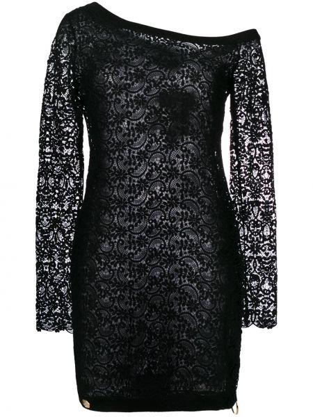 Асимметричное приталенное черное платье макси Philipp Plein