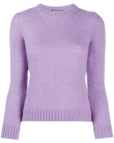 Прямой фиолетовый джемпер из мохера в рубчик Alberta Ferretti