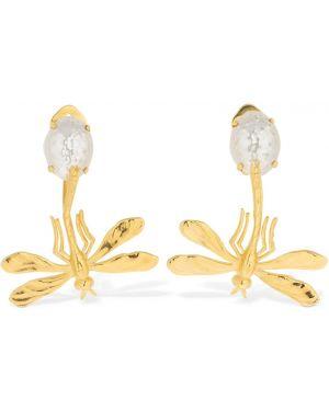 Żółte złote kolczyki sztyfty perły Peracas